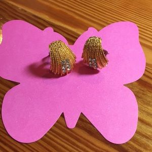 Jewelry - Vintage Gold Tone & Crystal Clip-on Earrings